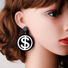 big earing moon girl new hiphop rock acrylic us coin big earrings fashion