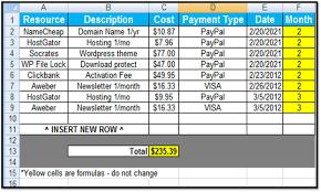 Bill Payment Spreadsheet Xls Template Virtren Com