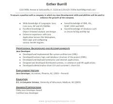 Resume Job Responsibilities Examples by Fashionable Ideas Java Developer Resume Sample 2 Cv Sample