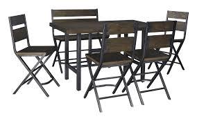 kavara medium brown rectangular dining room counter table w 4
