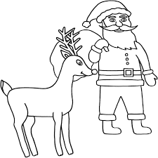 santa claus and deer coloring page christmas coloring pages for