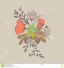 vector flower bouquet botanical and floral decoration hand draw