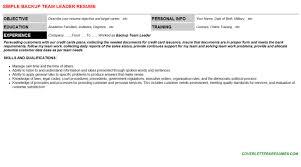 backup team leader cover letter u0026 resume