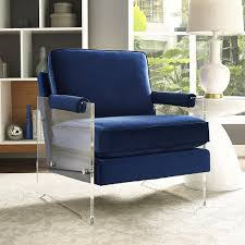 Blue Accent Chairs For Living Room by Serena Navy Velvet Lucite Chair Luxurious Velvet Furniture