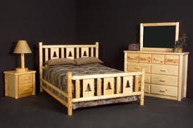 pine log bed 3 available in king queen full and twin bed