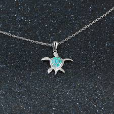 opal stone silver necklace images 925 sterling silver opal stone turtle pendant necklace luxurious jpg