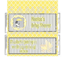 Modern Mommy Baby Shower Theme - yellow gray modern mod mom baby shower candy bar wrappers favors