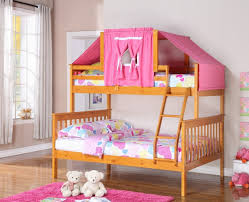 riley twin over full honey bunk bed with pink tent full bunk