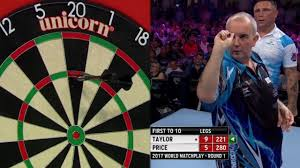 matchplay darts gerwyn price hits 180 without looking against