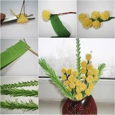 Yellow Pom Pom Flowers - diy pom pom flower bouquet fab art diy