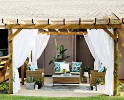 Outdoor Gazebo With Curtains Decorating Blue And White Striped Outdoor Curtains Heavy Outdoor