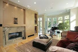 Sell Marble Fireplace Living Room In Luxury Home With Marble Fireplace Stock Photo