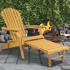 Outdoor Wooden Patio Furniture Outdoor Wood Adirondack Chair Foldable W Pull Out Ottoman Patio