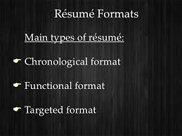 3 Types Of Resumes Resumes