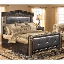 Tufted Bed With Storage Signature Design By Ashley Coal Creek King Upholstered Mansion Bed