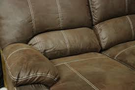 Rustic Sectional Sofas Brown Microfiber Reclining Sectional W Baseball Stitching