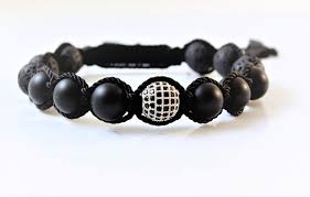 black bracelet onyx images Silver and black cz damond with lava rock and black onyx bracelet JPG