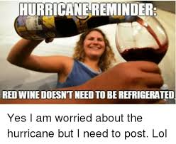 Red Wine Meme - hurricane reminder red wine doesntneed to berefrigerated yes i am