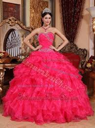 coral pink quinceanera dresses beading sweetheart ruffled hot pink dresses for a quince 166 45