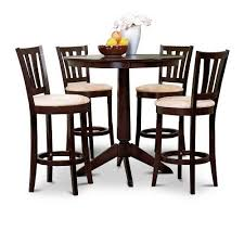 Espresso Bistro Table Espresso Counter Height Dining Bar Table And 4 Stools Set In