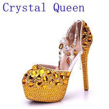 wedding shoes gold women high heels prom wedding shoes