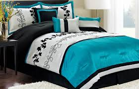 bedroom black white and turquoise bedding sets with floral