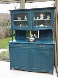 transformer un meuble ancien buffet deux corps art déco patiné bleu aubusson art déco