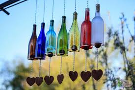 outdoor decor wine bottle wind chime garden decor gift for mom outdoor