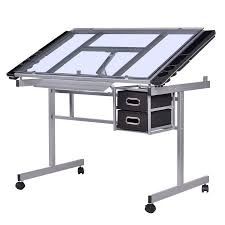 Drafting Table And Desk Costway Adjustable Drawing Desk Rolling Drafting Table Tempered