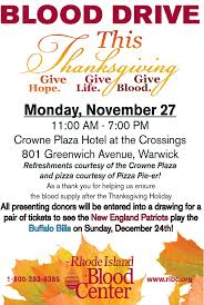 blood drive thanksgiving nov 27 2017 crown plaza hotel