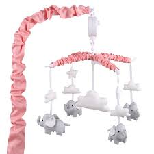 the peanut shell musical crib mobile coral pink with grey