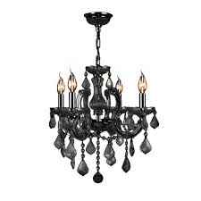 Crystal And Black Chandelier Aria 5 Light Black Crystal Leaves Chandelier With Shade P16815