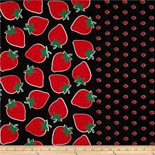 seven islands strawberry border print black from fabricdotcom