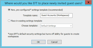 place setting template enable and configure eft workspaces