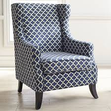 Blue Leather Chair And Ottoman Furniture Blue Upholstered Chair With Back Rest And Nails Accent
