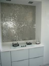 bathroom inspiring mirrored tile backsplash with rabge hood and