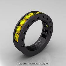 black mens wedding ring mens modern 14k matte black gold princess yellow sapphire channel