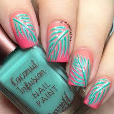 the polish list barry m plam leaf nail art