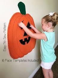 kids halloween activity felt jack o lantern pumpkin pattern no