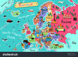 Map Of Europe Asia by Vector Illustration Europe Map Cartoon Style Stock Vector