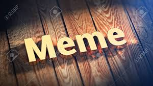 Word Meme - the word meme is lined with gold letters on wooden planks