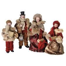 fabric christmas caroler family figurine set of 4