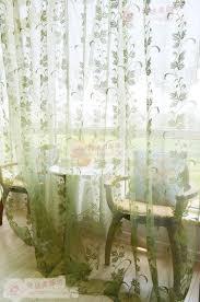 Green Sheer Curtains Fresh Morden Fashion Glass Yarn Broadened Vine Leaves Window Sheer