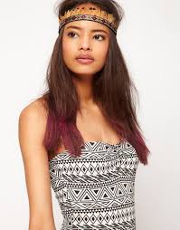 aztec hair style lyst asos asos aztec feather headband