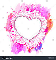 Design For Valentines Card Decorative Heart Template Floral Pattern Watercolor Stock Vector
