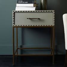 nailhead nightstand gray lacquer nightstands bedrooms and