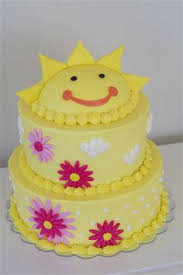 you are my sunshine themed buttercream birthday cake with fondant