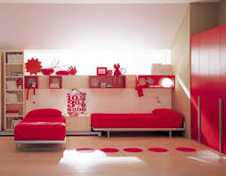 creative wall decor with sleek platform twin beds for modern creative wall decor with sleek platform twin beds for modern bedroom decorating ideas using red wardrobe