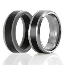 rubber wedding ring soleed set of 2 1 tungsten wedding band and