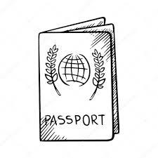 passport sketch with globe on cover u2014 stock vector seamartini